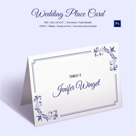 tabletop card template 25 wedding place card templates free premium templates