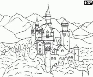 neuschwanstein castle coloring page monuments and other sights in europe coloring pages