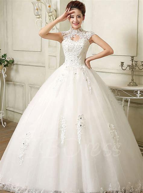 wedding dress with high neck gown applique wedding dress tbdress