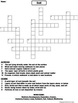 properties  soil worksheet crossword puzzle  science