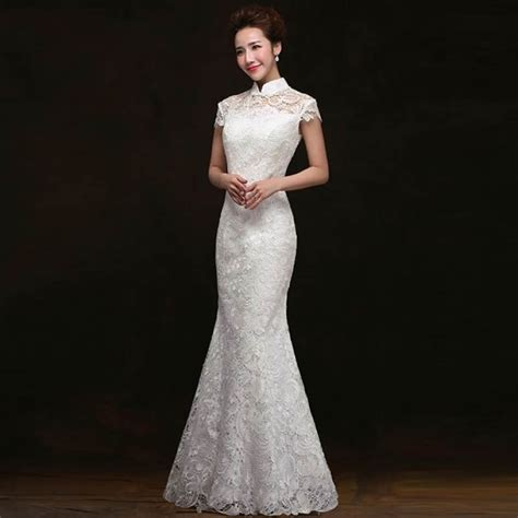 Wedding Qipao traditional dress white lace fishtail wedding