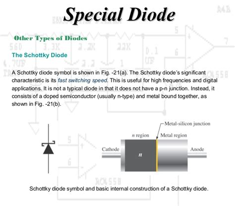 schottky diode switching speed working principle diode and special diode