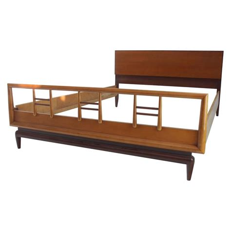 mid century modern bed frame birch and walnut mid century modern full size bed frame