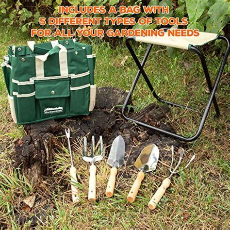 Ergonomic Gardening Stool by Gardenhome 7 Ergonomic Garden Tool Set Includes Folding Stool Tool Bag Tools And