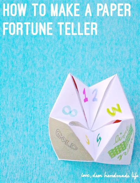 How To Make A Fortune Teller Paper - how to make a diy paper fortune teller dear handmade