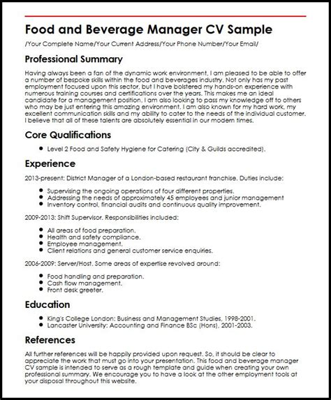 sle resume for food and beverage supervisor food and beverage manager cv sle myperfectcv