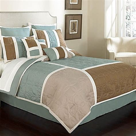 blue and beige bedding kiley 8 piece comforter set in blue beige bed bath beyond