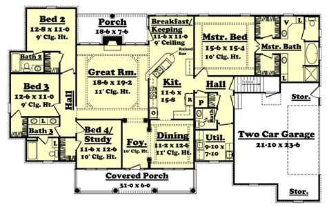 2500 sq ft ranch floor plans country style house plan 4 beds 3 5 baths 2500 sq ft