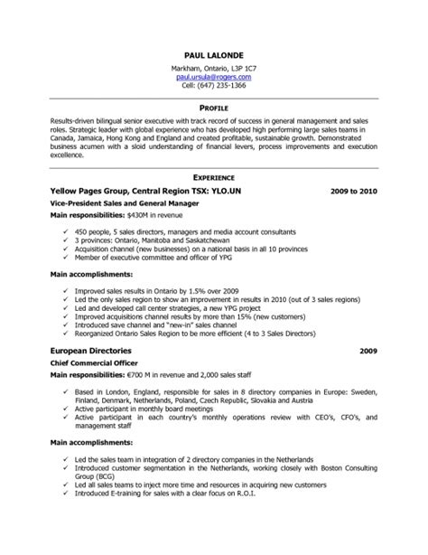 Proper Resume Format Canada by Sle Resume Format In Canada Resume Ideas