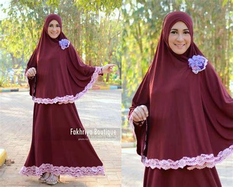 Zahra Khimar Pet Ukuran L amira merah hati baju muslim gamis modern