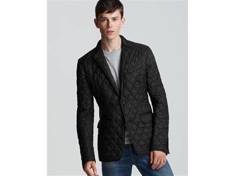 Mens Quilted Sport Coat by Burberry Ledburry Quilted Sport Coat In Black For