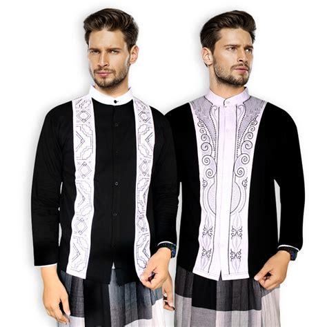 Tkd Baju Koko Busana Muslim Pria Cowok Lengan Panjang Warna Hijau Rd baju koko motif etnik lengan panjang baju muslim pria