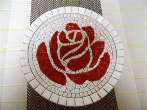 mosaic rose pattern bamboeschaal met roos in moza 239 ek zelfgemaakte