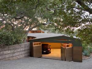 Decomposed granite driveway garage modern with two car garage gravel