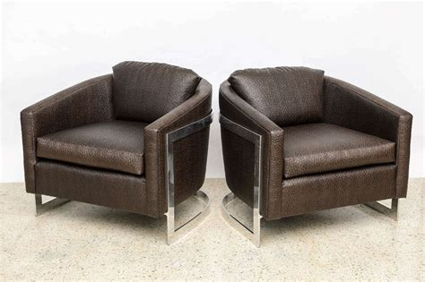 chrome folding upholstered armchair at 1stdibs a pair of milo baughman polished chrome and quot ostrich