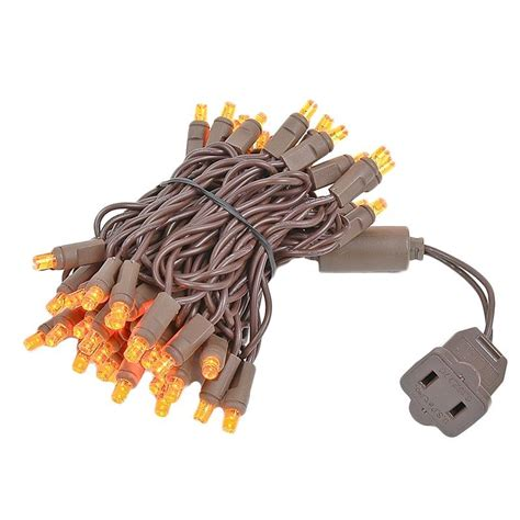 brown wire wide angle amber orange 50 bulb led christmas