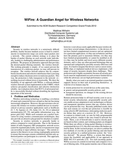 (PDF) WiFire: A Guardian Angel for Wireless Networks