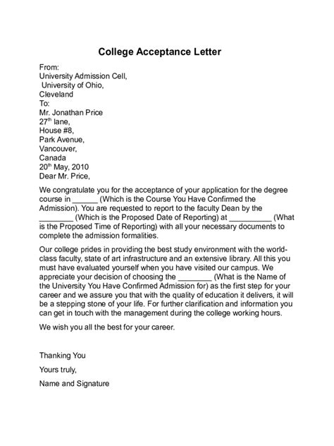College Acceptance Letter Pdf college admission offer letter pdf 28 images how to
