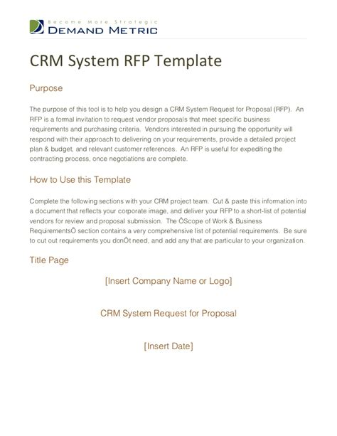 Crm Rfp Template by Crm Template Image Collections Project