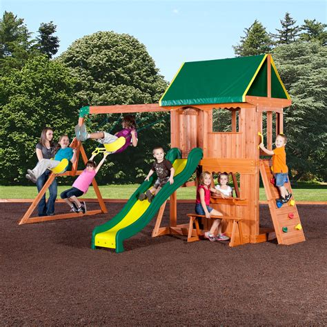 wooden outdoor swing set backyard discovery somerset wood swing set