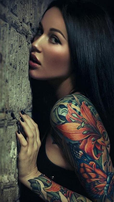 tattoo girl wallpaper free download sexy sleeve tattoo girl iphone 5 wallpaper photography