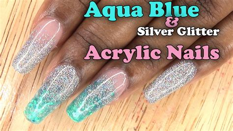 aqua acrylic nails acrylic nails aqua blue and silver glitter nails