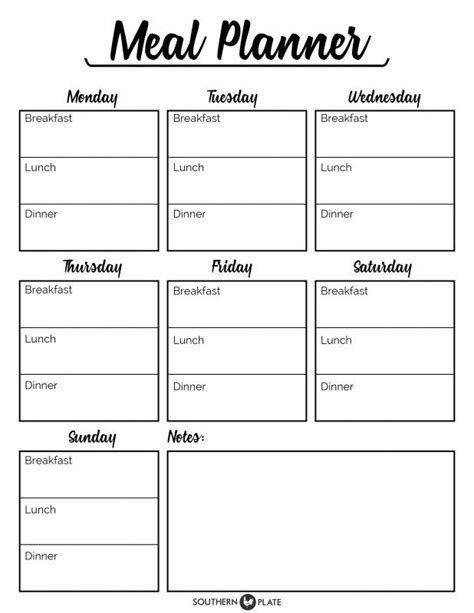 printable planner chart i m happy to offer you this free printable meal planner