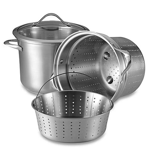 bed bath and beyond pots calphalon 174 contemporary stainless steel 8 quart multi pot