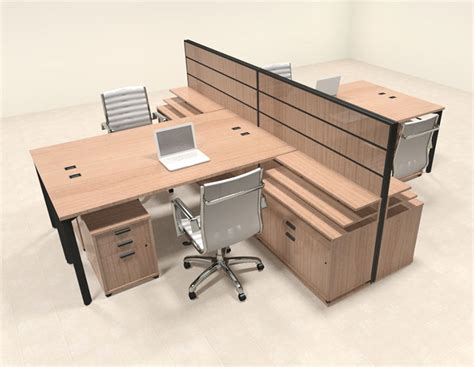 four person modern l shaped workstation office desk set