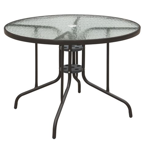 Frosted Glass Top Dining Table Patio Outdoor Garden Yard Dining Table Frosted Glass Top Steel Frame