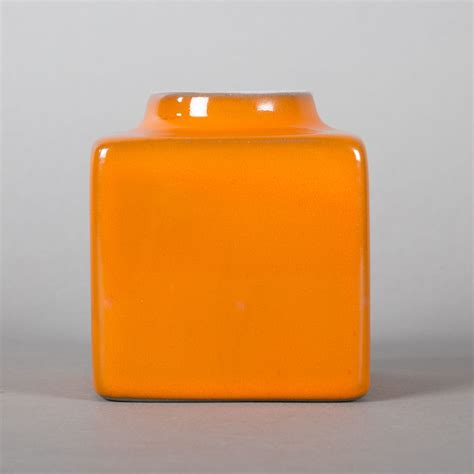 Small Square Vase by Jacques And Ruelland Small Square Vase In Orange