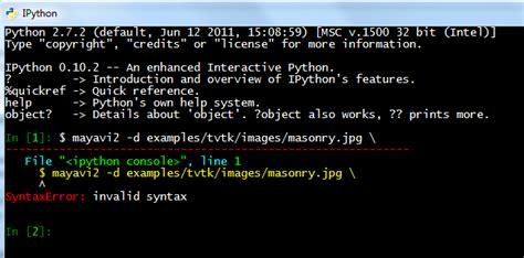 pythonxy tutorial python mayavi ipython shell not expected behavior