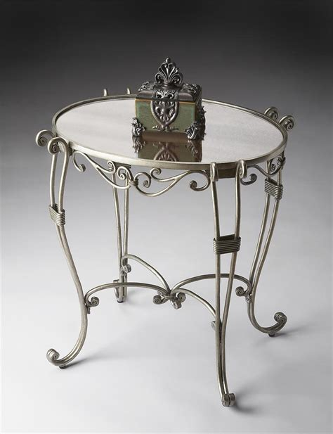 Oval Side Table Antique Silver Oval Side Table