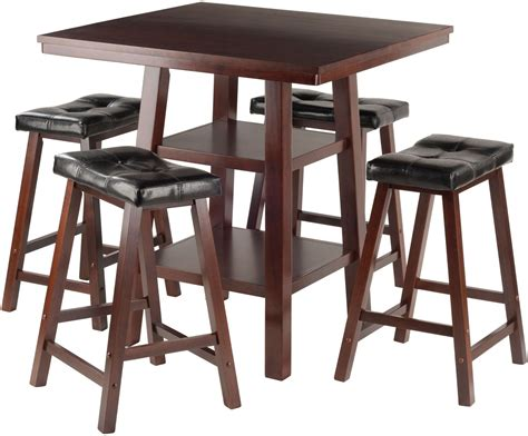 5 Counter Height Dining Set With Stools by Orlando 5 Walnut Counter Height Dining Set With 4