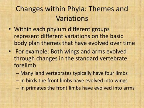 themes and variations exles ppt 25 2 part ii the cladogram of animals powerpoint