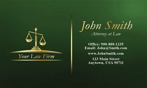 green legal business card design 401265