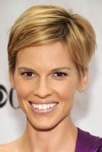 hairstyles for rectangular thin shape hilary swank short hair
