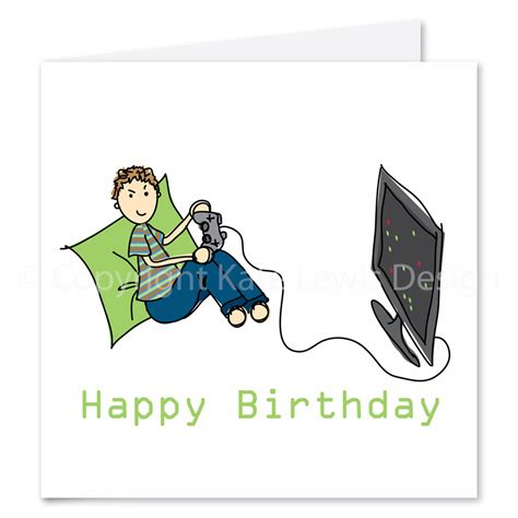 birthday cards on the computer gaming boy birthday