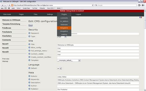 admin backend templates cmsimple open source cms ohne datenbank screenshots