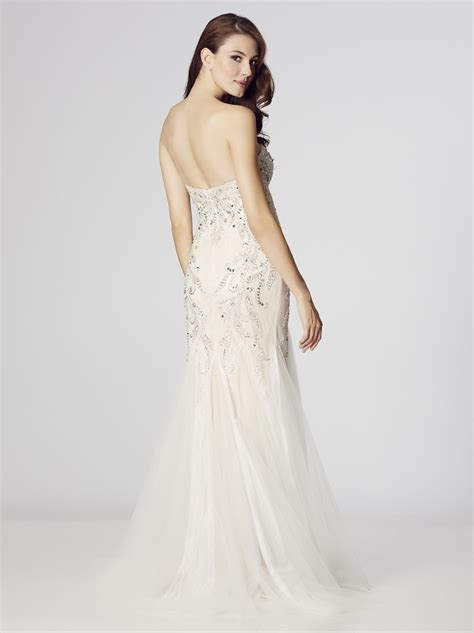 beaded fishtail dress strapless fishtail gown in beaded ivory tulle