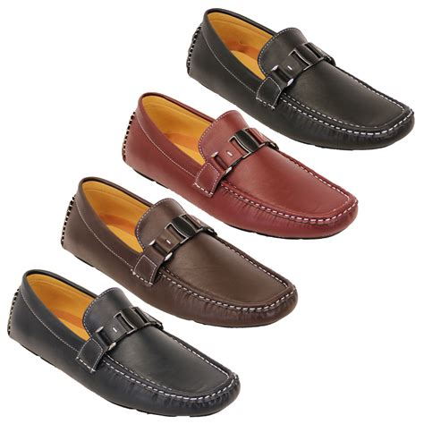 boat shoes for wedding mens moccasins leather look shoes driving loafers slip on