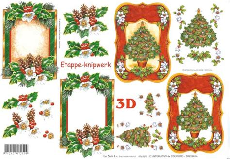 Decoupage 3d Pictures - tree and frame 3d decoupage sheet