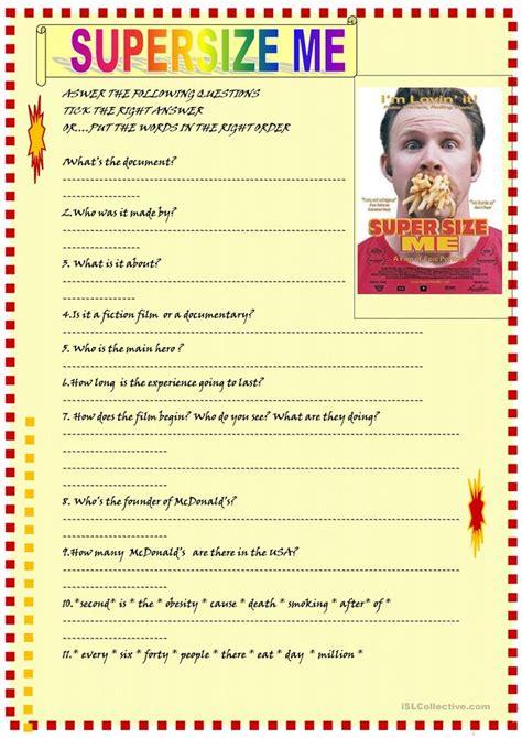 Supersize Me Worksheet by Supersize Me Worksheet Free Esl Printable Worksheets