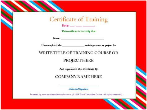 training certificate template free certificate sample training