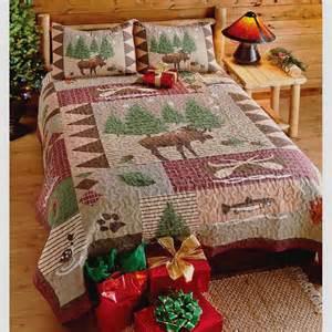 Log Cabin Bed Sets Moose Lodge Or King Quilt Set Fish Log Cabin Mountain Comforter Ebay
