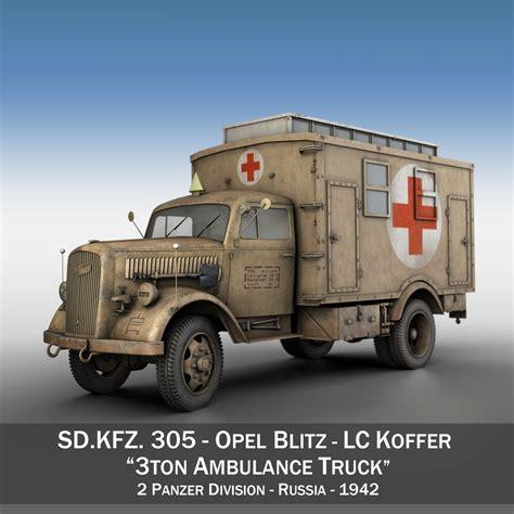 opel truck opel blitz 3t ambulance truck 2 pzdiv 3d model buy