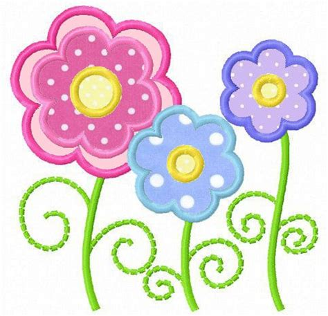 flower applique three flowers applique machine embroidery design 4
