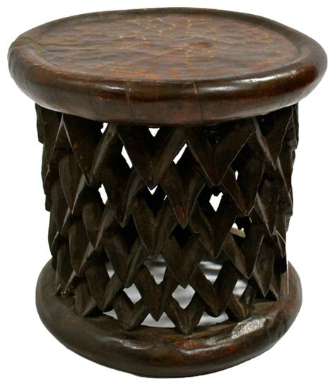 bamileke carved wood stool traditional accent