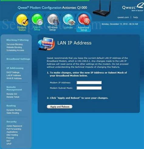 ip address sections how to change the ip address of the qwest q1000
