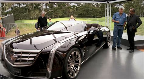 who is the man on the new cadillac commercial jay leno does meet and great with cadillac ciel concept